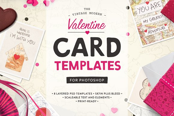 Valentine Card Templates PS Card Templates on Creative Market – Template Valentine Card