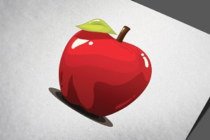 Red Apple Fruit Realistic Vector