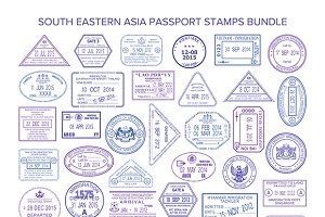 South eastern asia visa stamps set