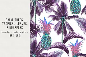 Palm trees,leaves,pineapples pattern