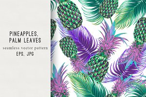 Pineapples,palm leaves pattern