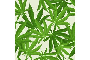 Seamless pattern with marijuana hemp leaves. Vector illustration.