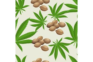 Seamless pattern with marijuana hemp leaves and seeds. Vector illustration.