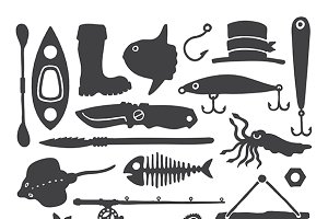 Fisherman handdrawn items set