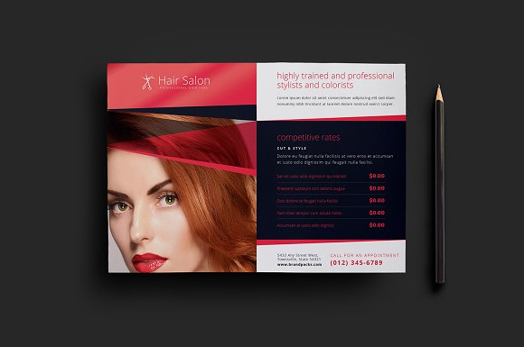 Hair Salon Flyer Template V Flyer Templates Creative Market - Hair salon brochure templates