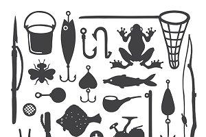 Doodle fisherman items set