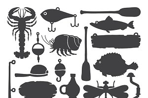 Sketched fisherman items set