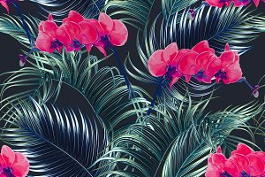 Palm leaves,orchid flowers pattern