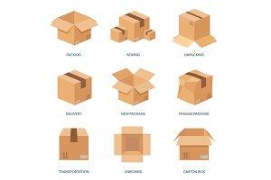 Vector illustration. Flat carton box. Transport, packaging, shipment. Post service, delivery.