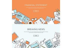 Vector illustration. Flat header. Online news. Newsletter,information. Business, market . Financial report.
