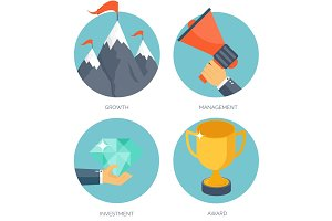 Vector illustration set. Flat business concept background. Achievements, mission. Aims, new ideas. Smart solutions. Travelling.