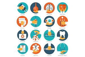 Vector illustration. Flat medical background. First aid, diagnostic. Medical research, therapy. Global healthcare.