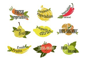 Fruits and vegetables stickers, logo