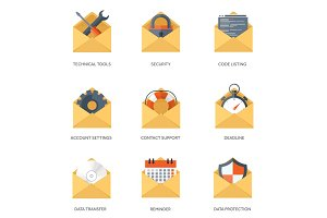 Vector illustration. Envelope icon. Letter, email. Message, communication. Social media.