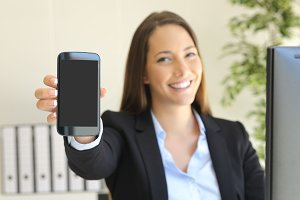 businesswoman showing smart phone