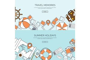 Flat travel background. Summer holidays, vacation. Travel and navigation. Tourism. Trip, journey