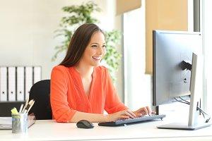 Businesswoman in orange blouse