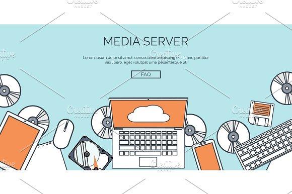 Vector Illustration Flat Cloud Computing Background Data Storage Network Technology Multimedia Content Web Sites Hosting Memory Information Transfer