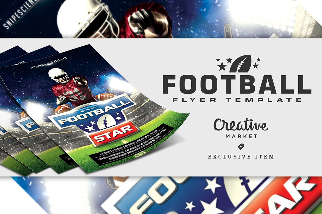 Football Flyer Template With 2 Sizes Flyer Templates Creative Market