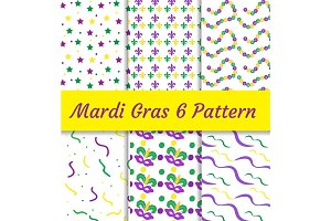 Mardi Gras seamless pattern set