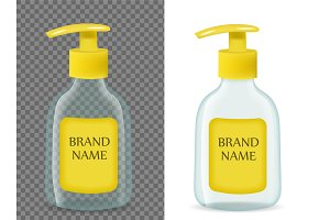 Liquid soap realistic packaging
