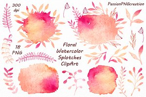 Floral Watercolor Splotches ClipArt