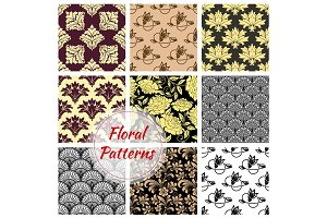 Floral ornate seamless patterns set