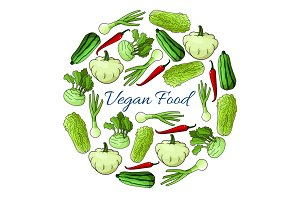 Vegan food vector poster with vegetables