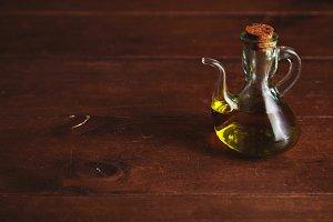 Olive oil in glass dispenser