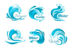 Waves and water splashes vector icons