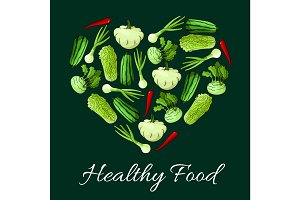 Healthy vegetable food vector poster