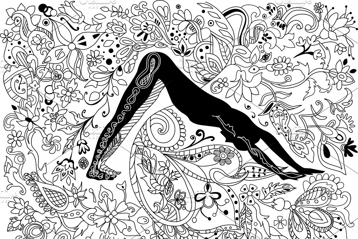 Yoga coloring book page