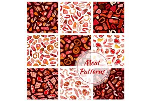 Meat, butcher shop sausages seamless patterns
