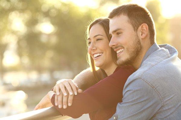Enamored couple embracing