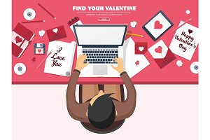Flat background with paper, envelope. Love, hearts. Valentines day. Be my valentine. 14 february.Vector illustration.