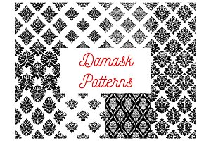 Damask ornate seamless patterns set