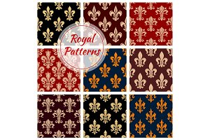 Royal fleur-de-lis floral seamless patterns set