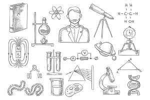 Scientific items. Vector sketch isolated icons