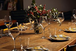 Serving dinner table set