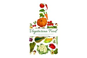 Vegetarian food vector poster with vegetables