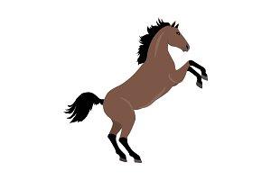 Rearing Sorrel Horse Illustration in Flat Design