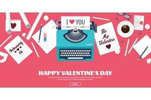 Flat background with typewriter. Love, hearts. Valentines day. Be my valentine. 14 february.Vector illustration. Holidays.