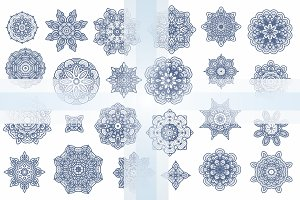 24 decorative snowflakes-stars