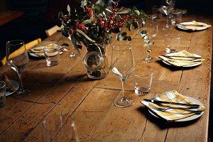 Serving dinner table set