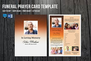 Funeral Program Card Template-V659