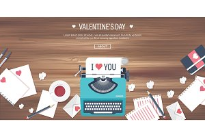 Vector illustration. Flat background with typewriter. Love, hearts. Valentines day. Be my valentine. 14 february.  Wooden texture.