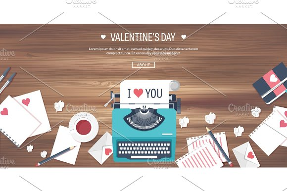Vector Illustration Flat Background With Typewriter Love Hearts Valentines Day Be My Valentine 14 February Wooden Texture