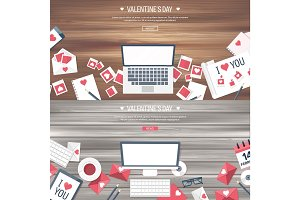 Vector illustration. Flat background with computer, laptop. Love, hearts. Valentines day. Be my valentine. 14 february.  Message. Wooden texture.