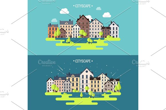 Vector Illustration Spring Summer.a City Silhouettes Cityscape Town Skyline Panorama Midtown Houses Summer