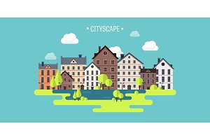 Vector illustration. Spring, summer.a City silhouettes. Cityscape. Town skyline. Panorama. Midtown houses. Summer.